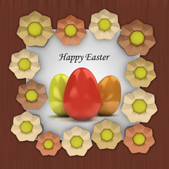 easter card with colorful eggs in blossom brown frame