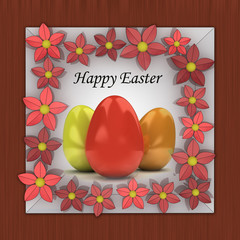 easter card with colorful eggs in red blossom frame