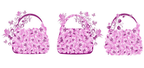 Set shopping bags decorated with flowers