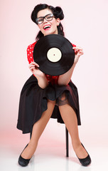 phonography analogue record music lover Girl pin-up retro
