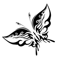 Vector illustration - black butterfly on a white background