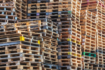 Stacks of wooden euro pallets