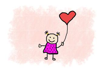 kleines Mädchen mit Herzballon