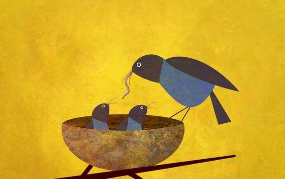 Illustration of bird feeding worms to chicks in nest