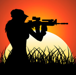 Aluminium Prints Military Sniper girl at sunset