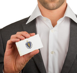 Businessman is holding a business card, Massachusetts