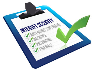 Checklist for internet security on a clipboard