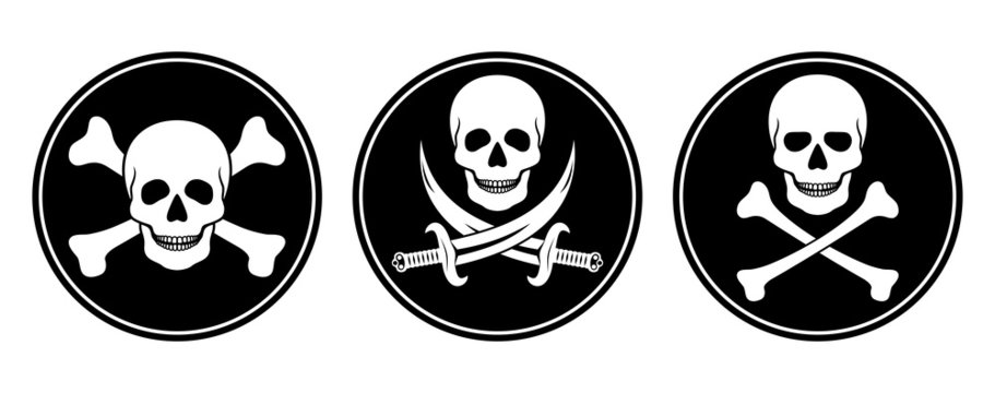 Skull and crossbones, and skull with swords in vector