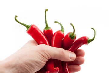Wall Mural - chilies hand