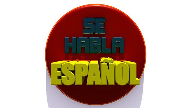 We speak Spanish red 3d button