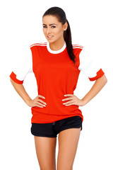 Sporty girl in red shirt