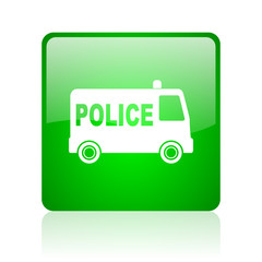 police green square web icon on white background