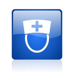 nurse blue square glossy web icon on white background