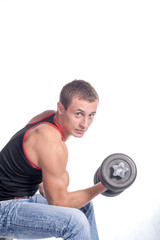 Man Working Out With A Dumbbell On White