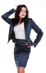 Modern business woman smiling and looking, full length portrait