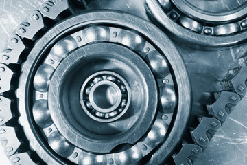 ball-bearings and chain in blue toning concept, engineering