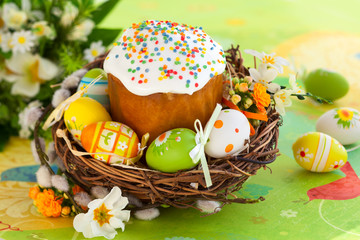 Easter cake and l eggs