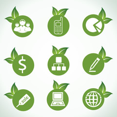 business icons and design with green leaf