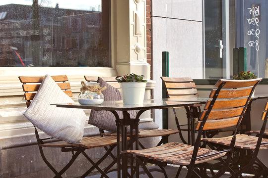 Morning street cafe in Gorinchem. Netherlands
