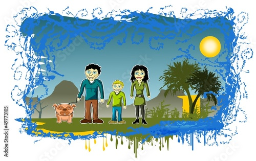 Familie Im Urlaub Cartoon Comic Stock Image And Royalty Free