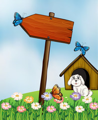 Garden Poster Dogs An arrow board with butterflies