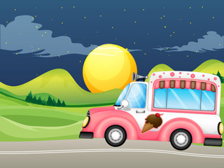 A pink icecream bus