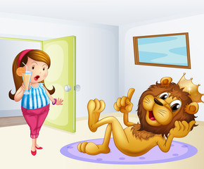 A fat lady and a lion inside a room