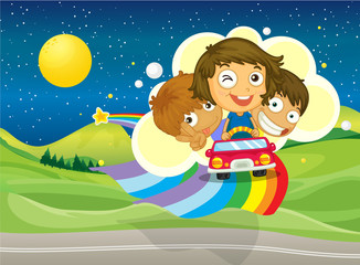 Door stickers Rainbow Three kids riding on a car passing over the rainbow