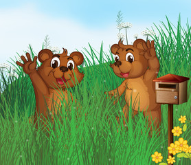 Acrylic Prints Bears Two young bears near a wooden mailbox