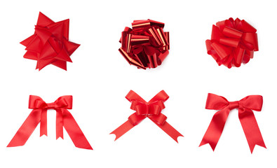 Collection of different red colored bows, isolated