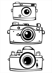 set of three vintage film photo cameras isolated on white backgr