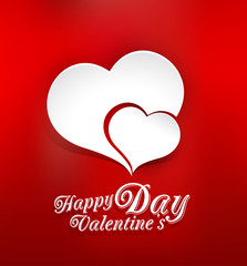 vector background of Valentine's Day, with two paper hearts