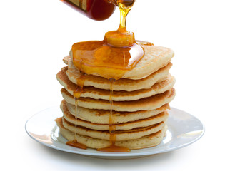Plate of Pancakes isolated on white