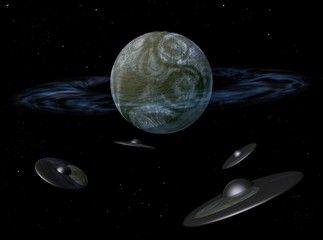 Unknown planet. Planet with a ring. Space, flying saucers.