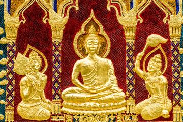 golden sclupture buddha wat phrabahtseeroy chiangmai Thailand