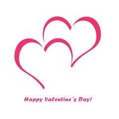 Postal con corazones en tonos rosas