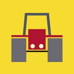 Traktor rot gelber Fond ohne Fahrer