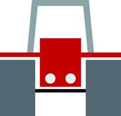 Traktor rot ohne Fahrer isoliert