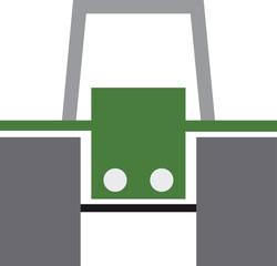 Traktor gruen ohne Fahrer Isoliert