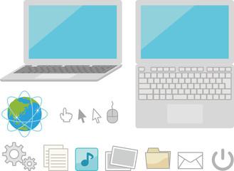 ノートパソコンとデスクトップアイコン