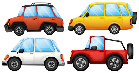 Four cars with different styles