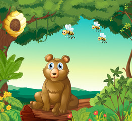 A bear and the three bees in the forest