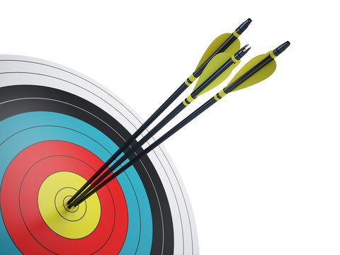 .Arrows hitting the center of target - success business concept