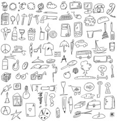 set hand drawn business objects