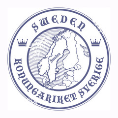 Grunge rubber stamp with the name and map of Sweden, vector