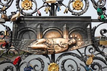 Relief on Charles Bridge in Prague