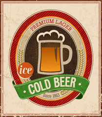 Wall Mural - Vintage Cold Beer Poster. Vector illustration.