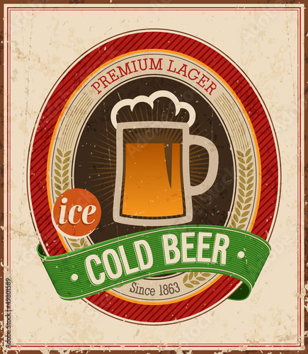 Wall mural Vintage Cold Beer Poster. Vector illustration.