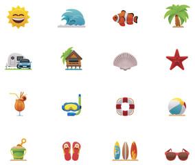 Vector beach icon set