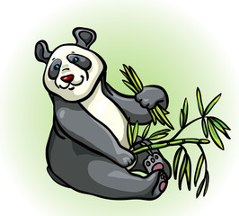 Deurstickers Sprookjeswereld Cartoon panda and bamboo leaves